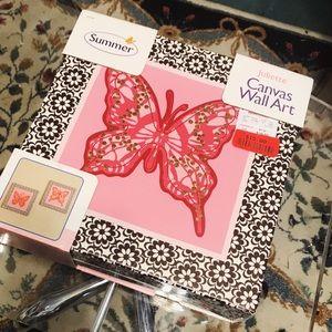 Juliette Canvas Pink Butterfly Wall Art Blocks